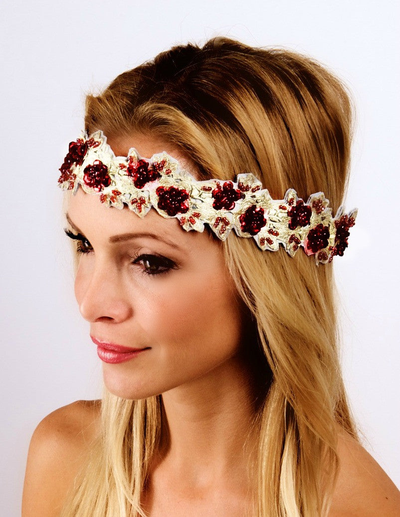 The Golden Red Garden Party Headband