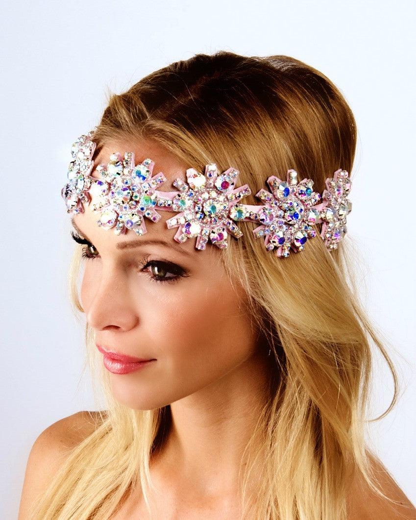 he Kaylen Headpiece- AB Sparkle & Metallic Pink- LARGE