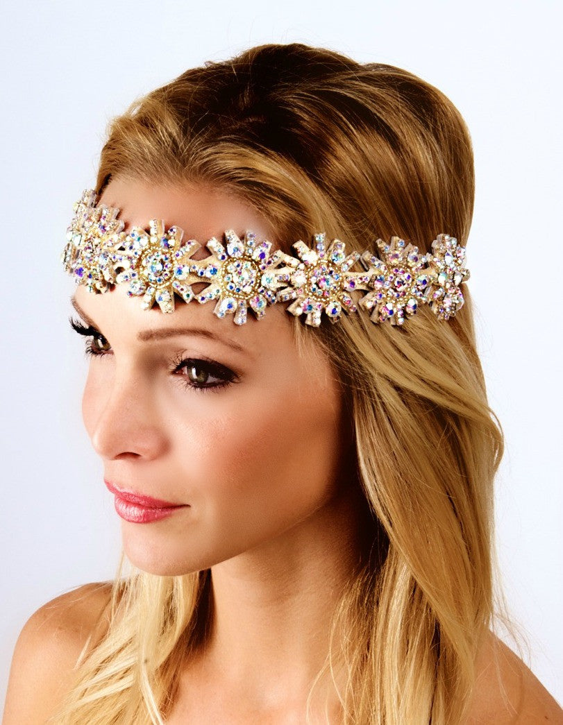 The Kaylen Headpiece- AB Sparkle & Metallic Gold- Small