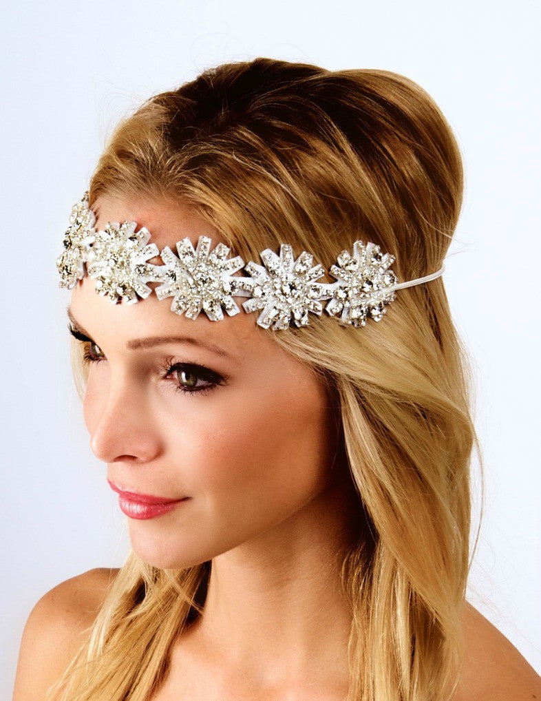 The Kid Kaylen Headpiece- Metallic Silver Leather- Small