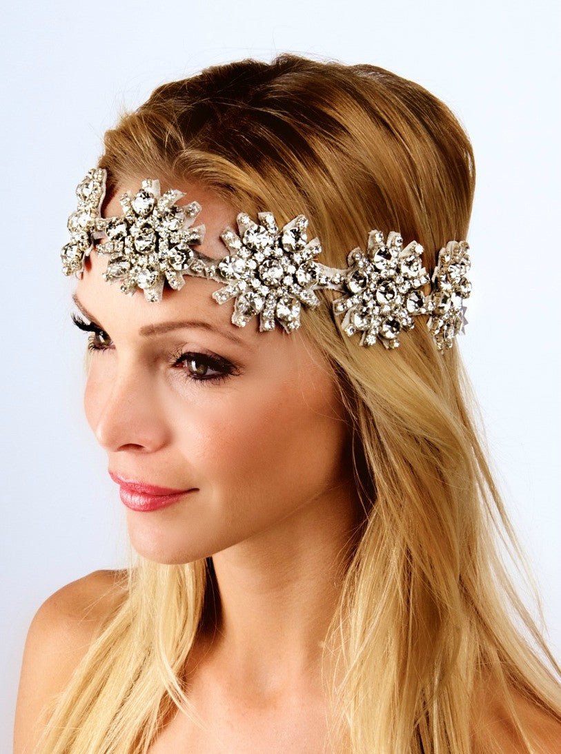 The Kaylen Headpiece- Metallic Silver Leather