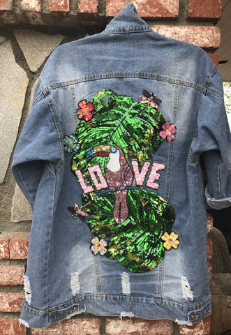 One Love Parrot Long Distressed Denim Jacket