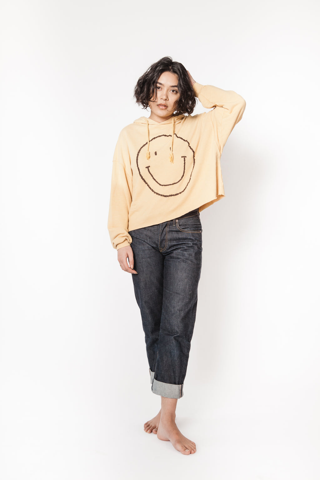 I Stole My Boyfriend's Sweatshirt smiley face cropped hoodie
