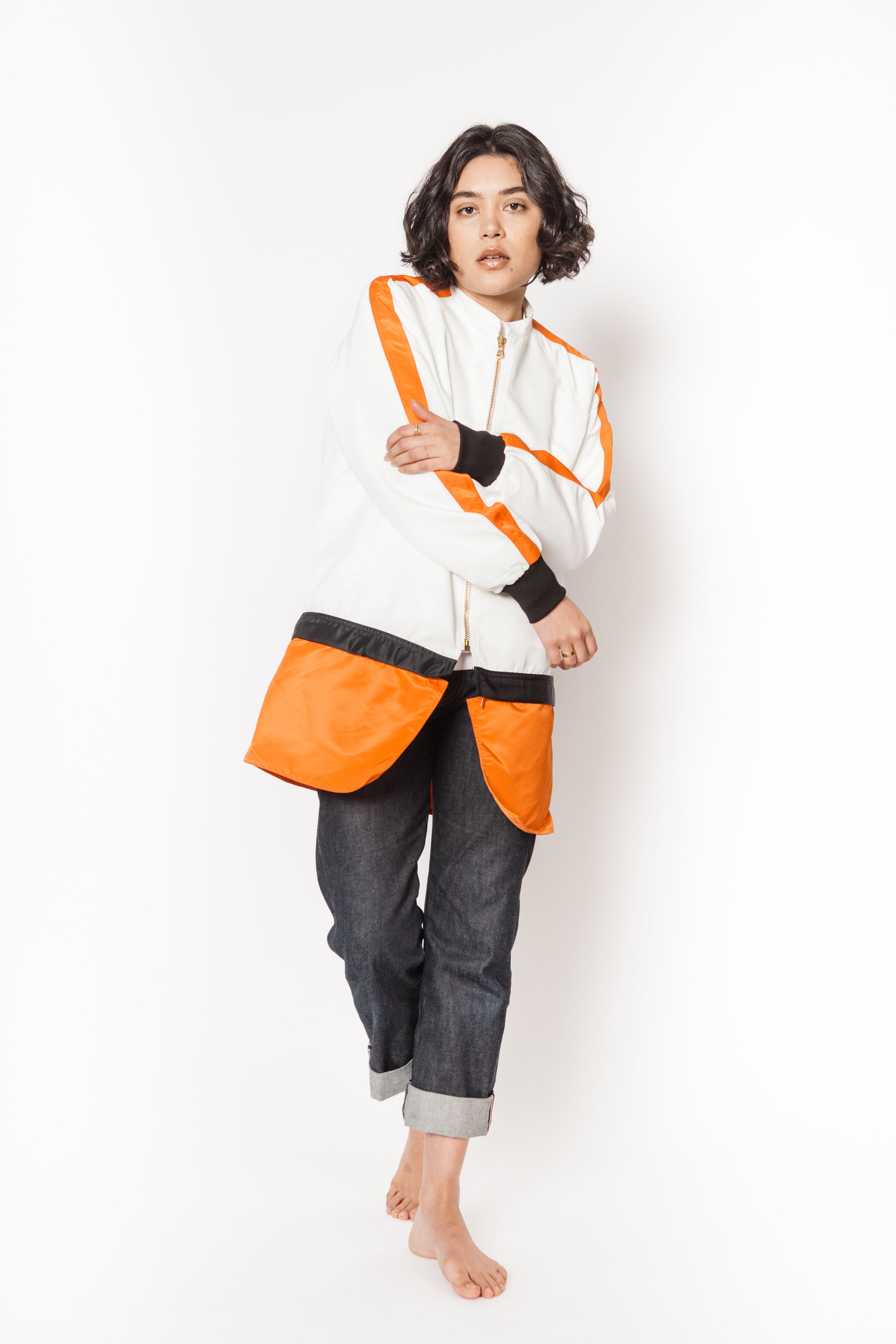 La Bete white orange black bomber