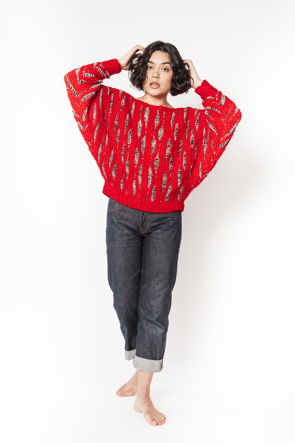 Vintage 80's red knit sweater