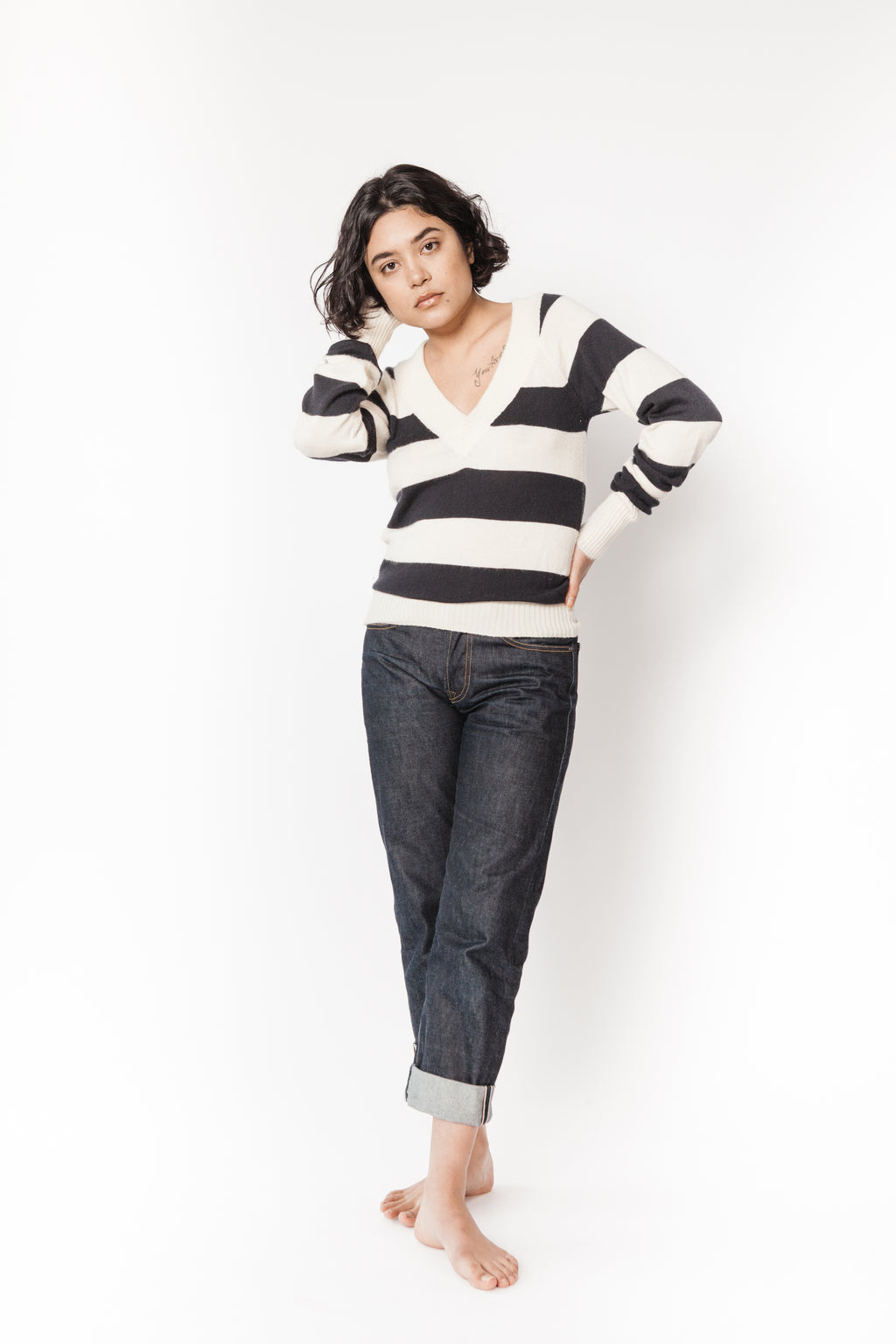 Jenni Kayne V-neck striped sweater