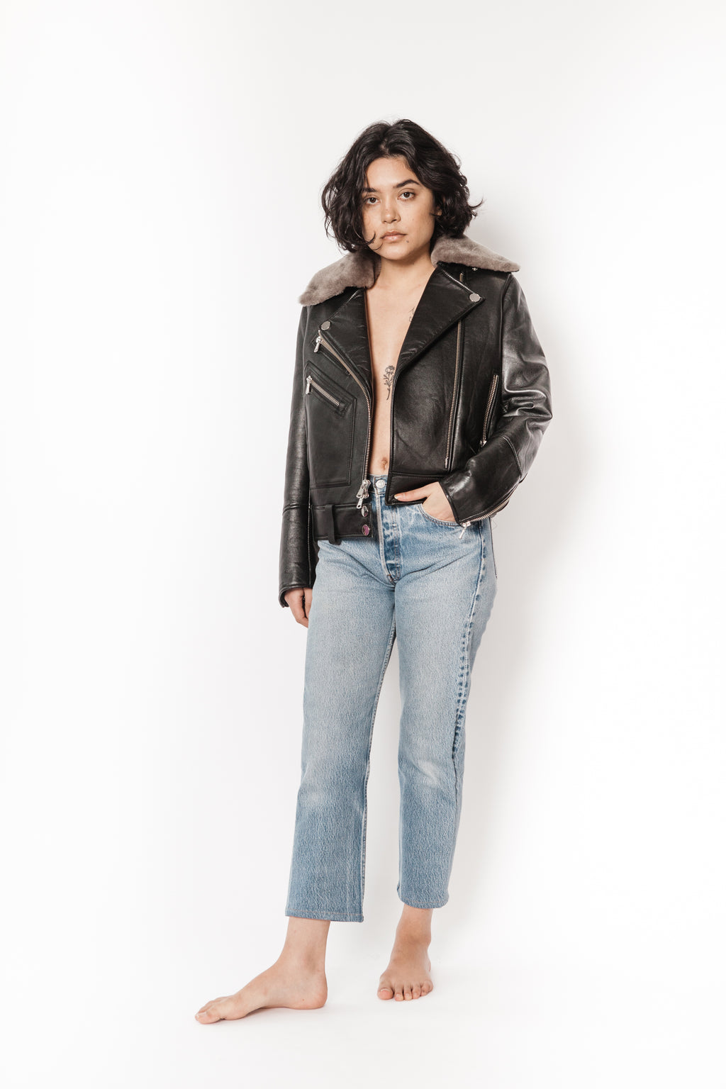 La Bete scuba padded moto with removable shearling