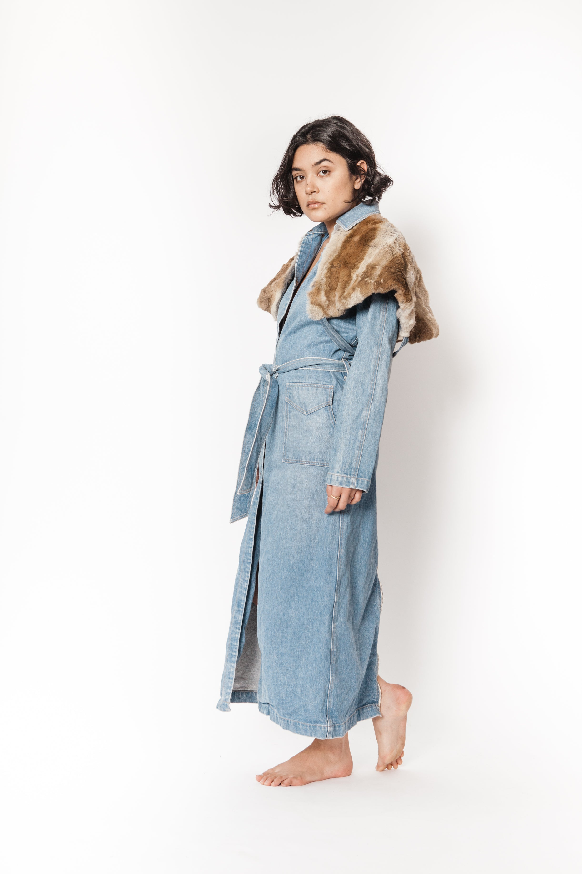 La Bete long denim coat with rabbit layered cape
