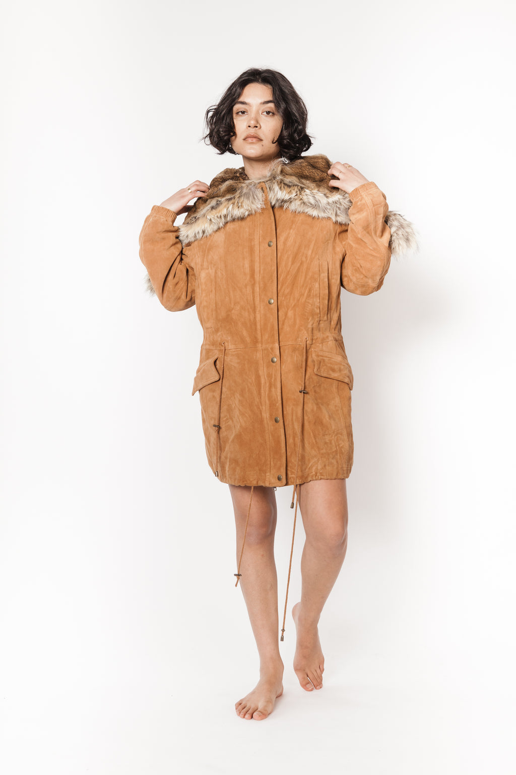 La Bete rabbit lined long suede parka