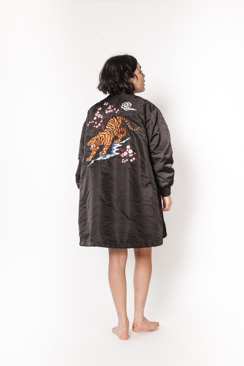 La Bete rabbit lined parka with tiger embroidery