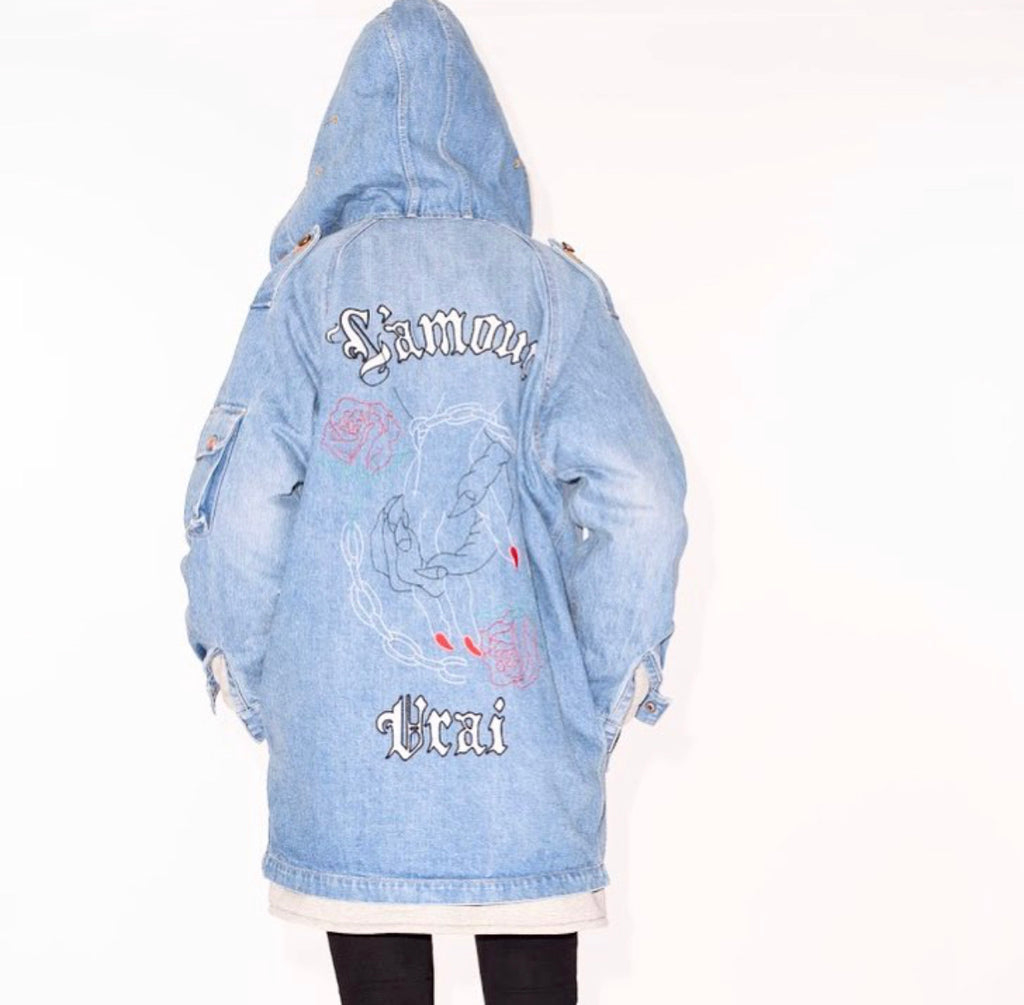 La Bete denim hooded long coat