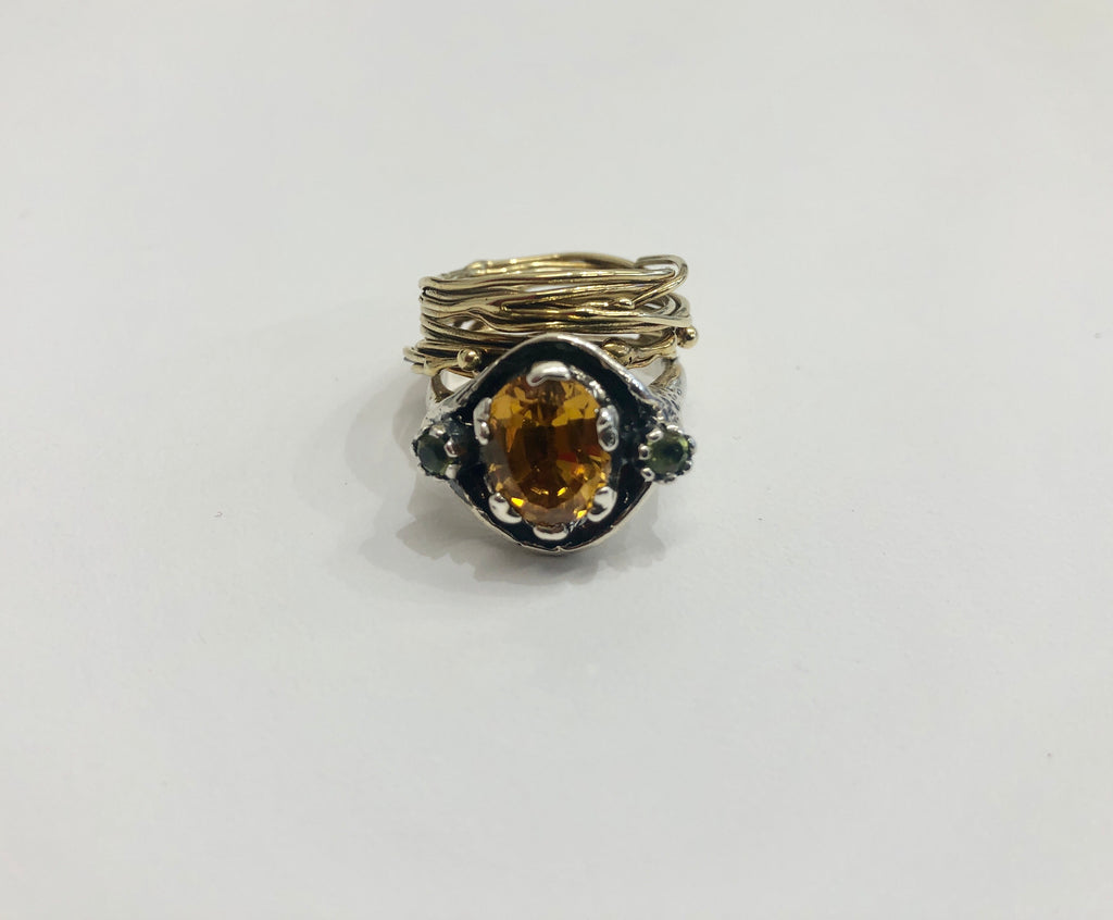 Angostura citrine and peridot stacked ring
