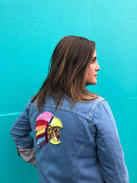 Nikki Fenix 70's patched denim shirt