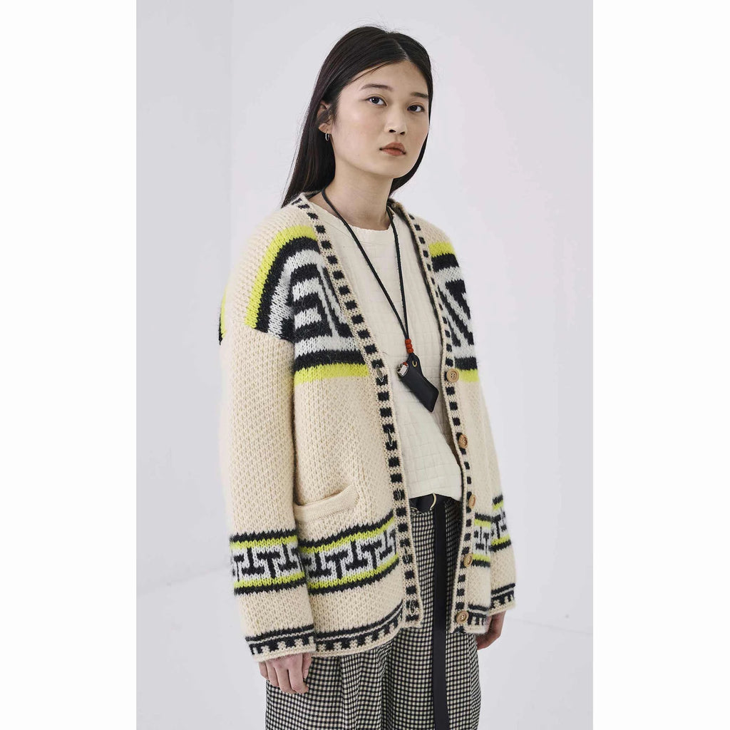 Girls Of Dust Ivory Knitted Native Cardigan