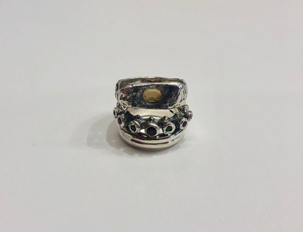 Angostura silver stacked citrine ring