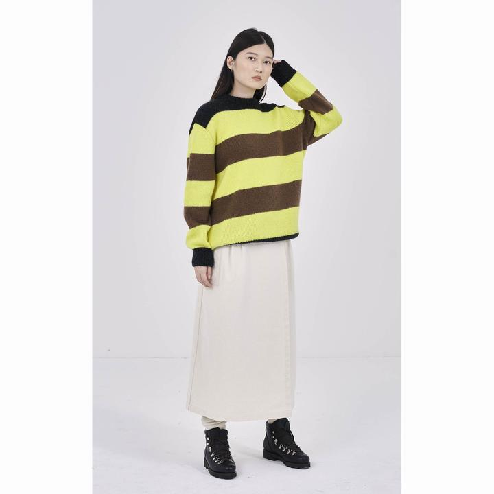 Girls Of Dust Yellow Kid Mohair Stripe Sweater