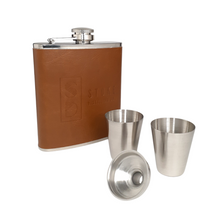 Load image into Gallery viewer, Leather Wrapped Flask - Gift Set