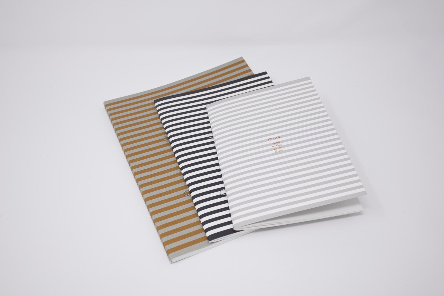 no24 notebooks // striped set of 3