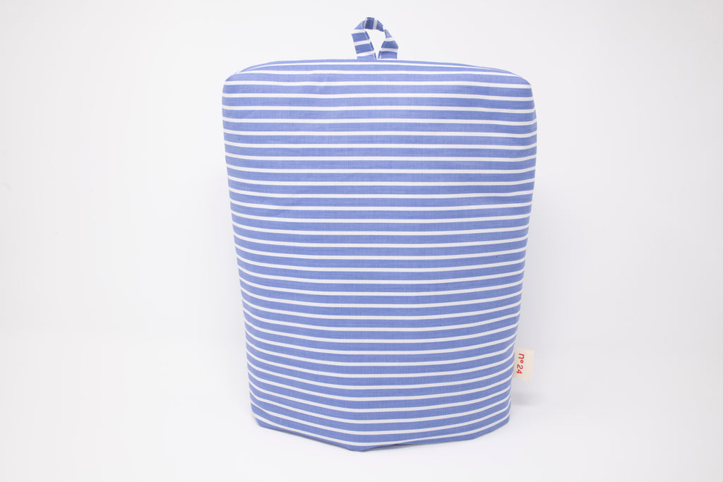 no24 coffe cozy // blue & white striped