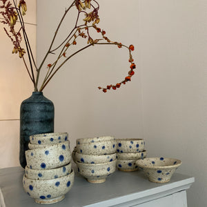 Blacksmith Ceramics // Sake bowl // Blue Dotted