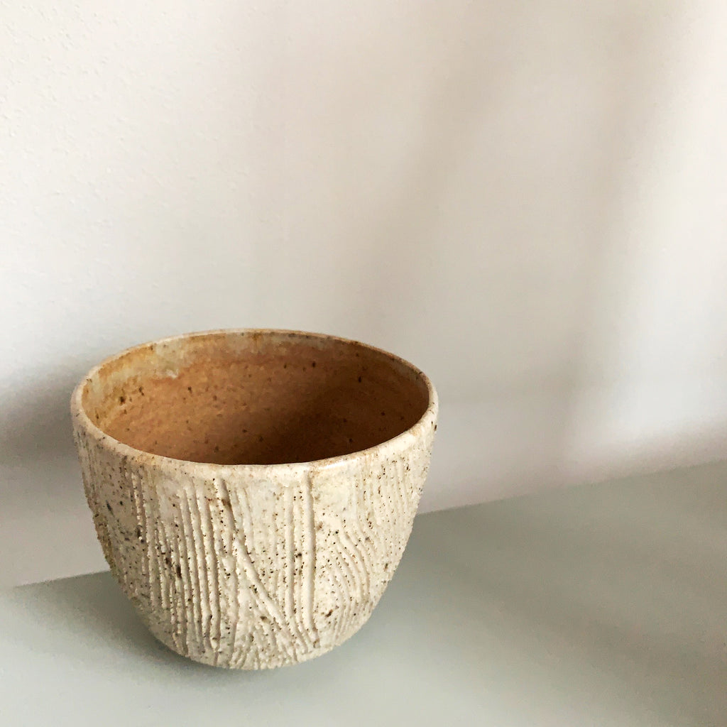 Blacksmith Ceramics // Cup // White with Tan