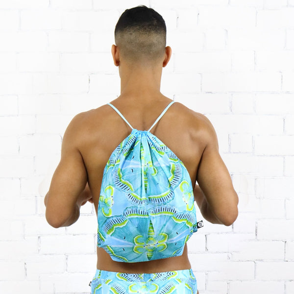 Aqua Moth Drawstring Bag