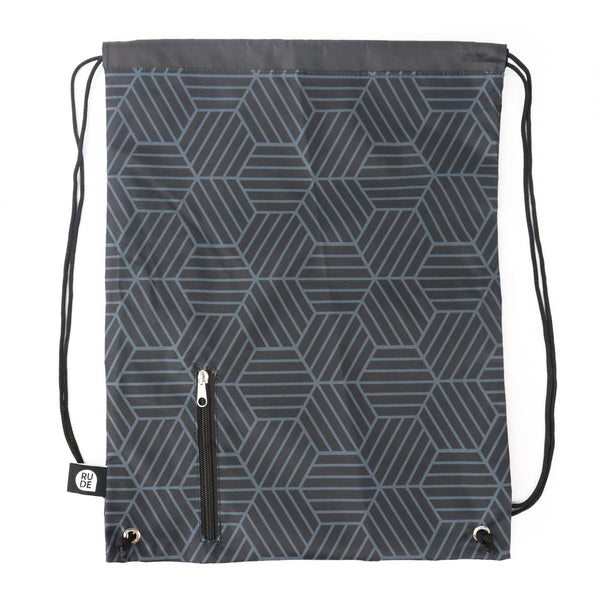 Black Honeycomb Drawstring Bag