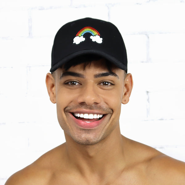 Black Rainbow Cap - Rude Rainbow Gay Party Summer
