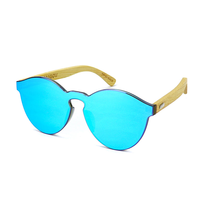 Blue Bamboo Reflective Sunglasses - Rude Rainbow Gay Party Summer