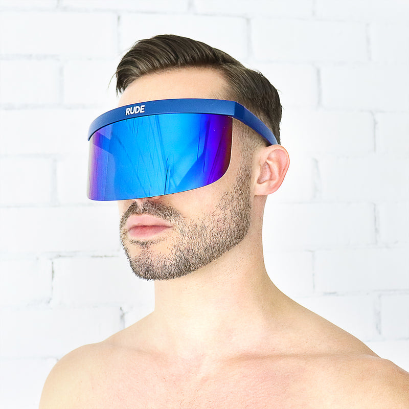 Blue Mirror Visor with Navy Blue Frames - Rude Rainbow Gay Party Summer