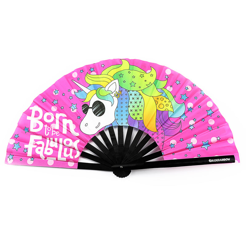 Fabulous Unicorn UV Party Fan - Rude Rainbow Gay Party Summer