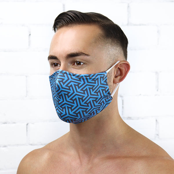 Blue Geometric Reusable PM2.5 Face Mask - Rude Rainbow Gay Party Summer