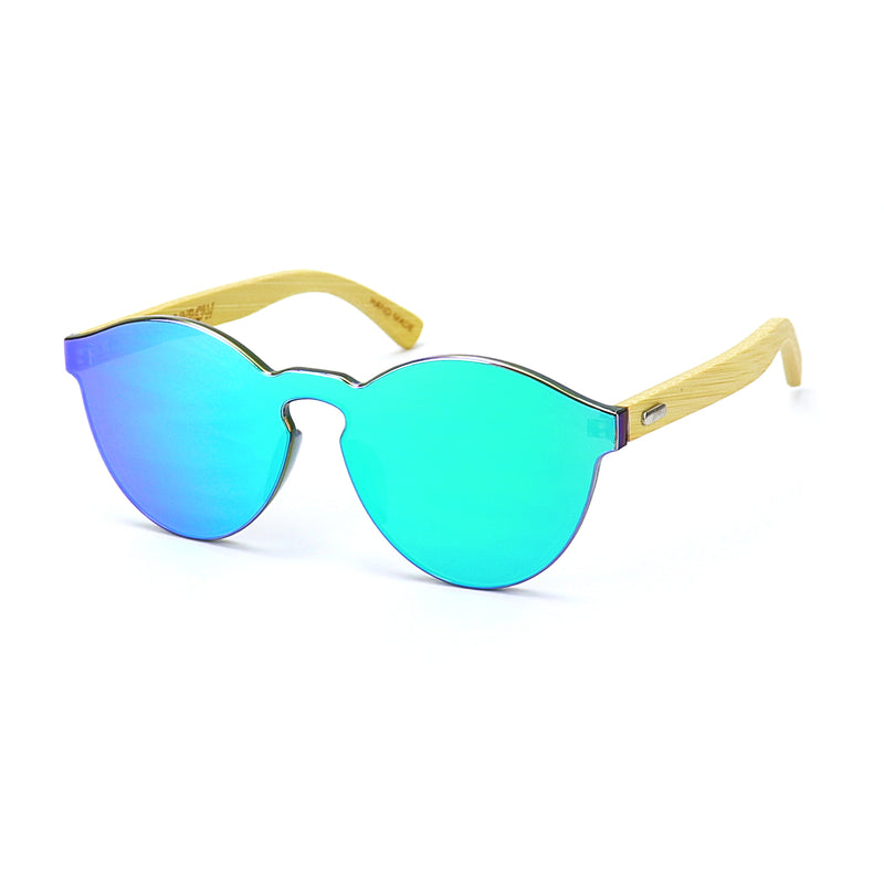 Green Bamboo Reflective Sunglasses - Rude Rainbow Gay Party Summer