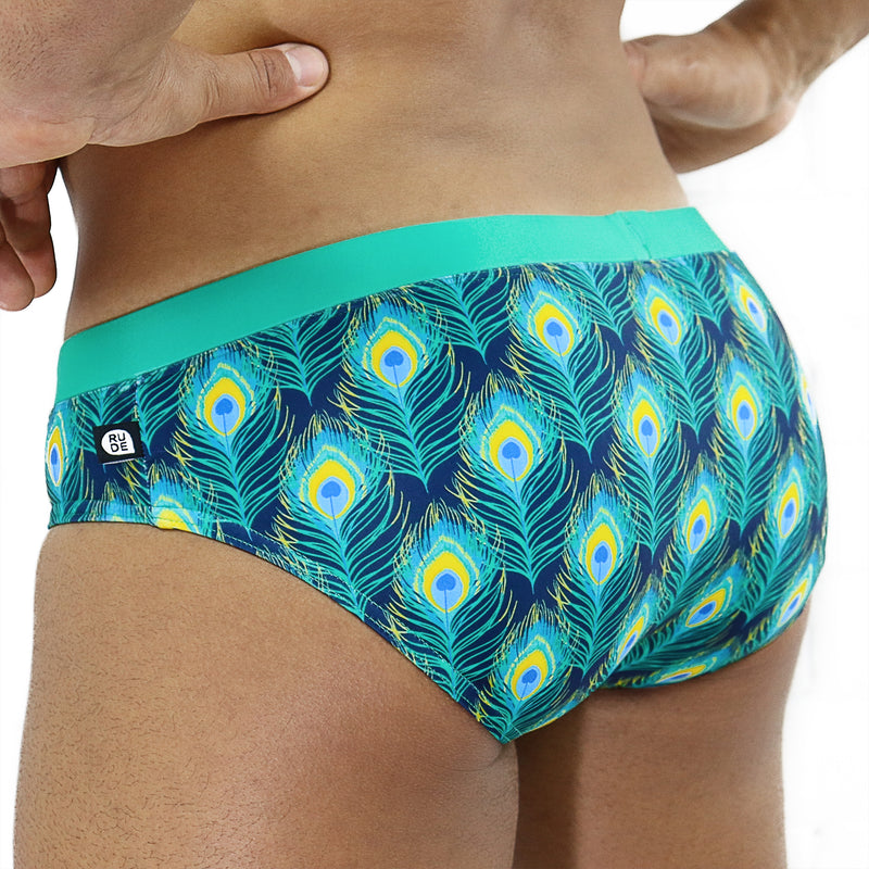 Feathered Peacock Swim Brief - Rude Rainbow Gay Party Summer
