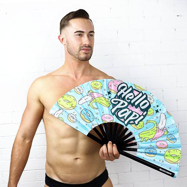 Hello Papi UV Party Fan - Rude Rainbow Gay Party Summer