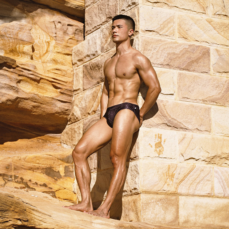 Black Honeycomb Swim Brief