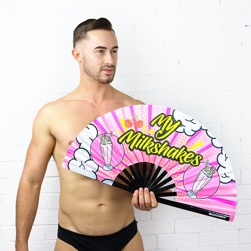My Milkshakes UV Party Fan - Rude Rainbow Gay Party Summer