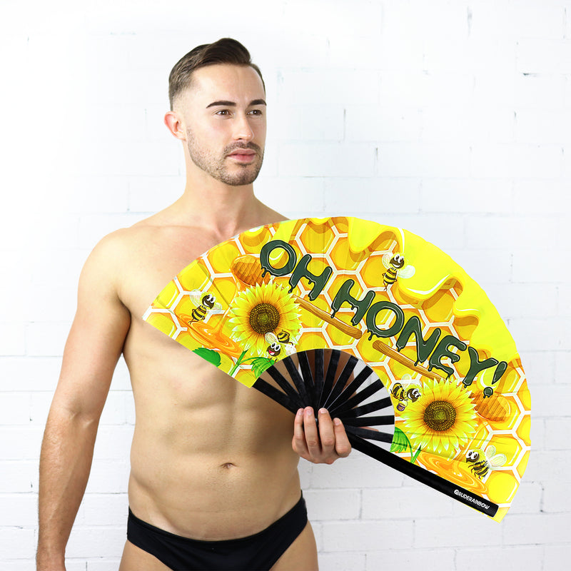 Oh Honey UV Party Fan - Rude Rainbow Gay Party Summer