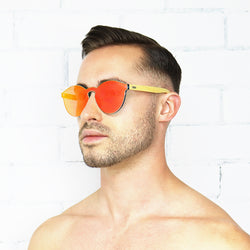 Orange Bamboo Reflective Sunglasses - Rude Rainbow Gay Party Summer