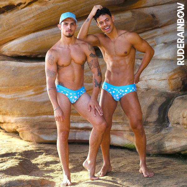 Popsicles and Lemon Swim Brief - Rude Rainbow Gay Party Summer