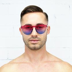 Pink and Blue two-tone Jelly Sunglasses - Rude Rainbow Gay Party Summer