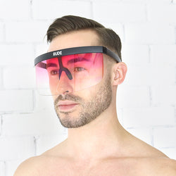 Pink Transparent Visor with Black Frames - Rude Rainbow Gay Party Summer