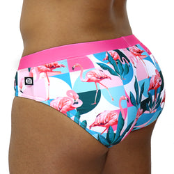 Leafy Flamingo Swim Brief - Rude Rainbow Gay Party Summer