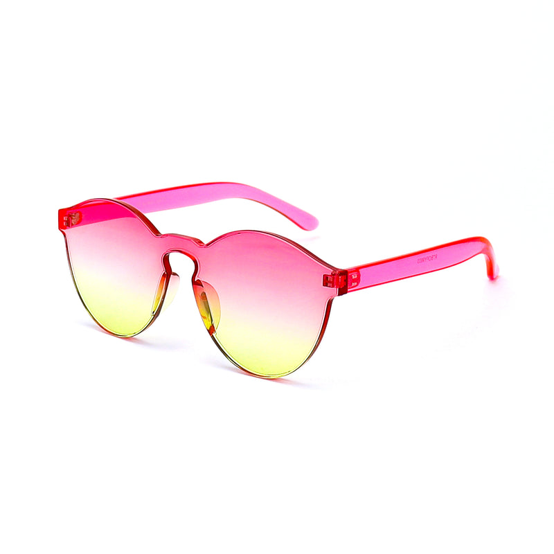 Pink and Yellow Two-tone Jelly Sunglasses - Rude Rainbow Gay Party Summer