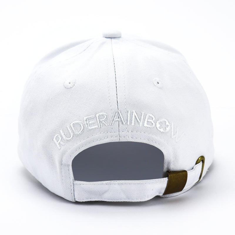 White and Pink Babe Cap - Rude Rainbow Gay Party Summer