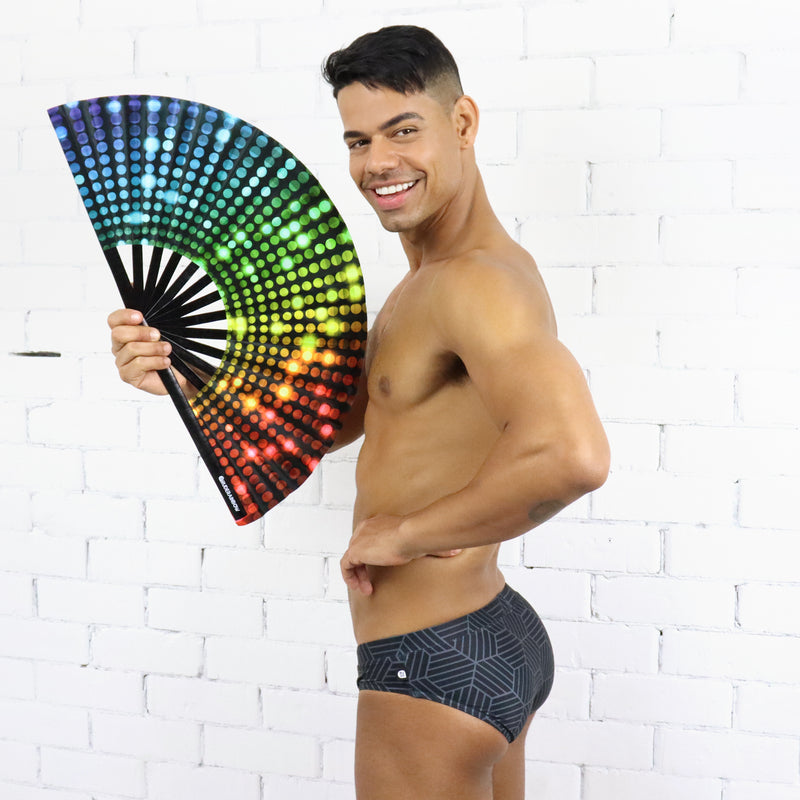 Rainbow Glitz UV Party Fan