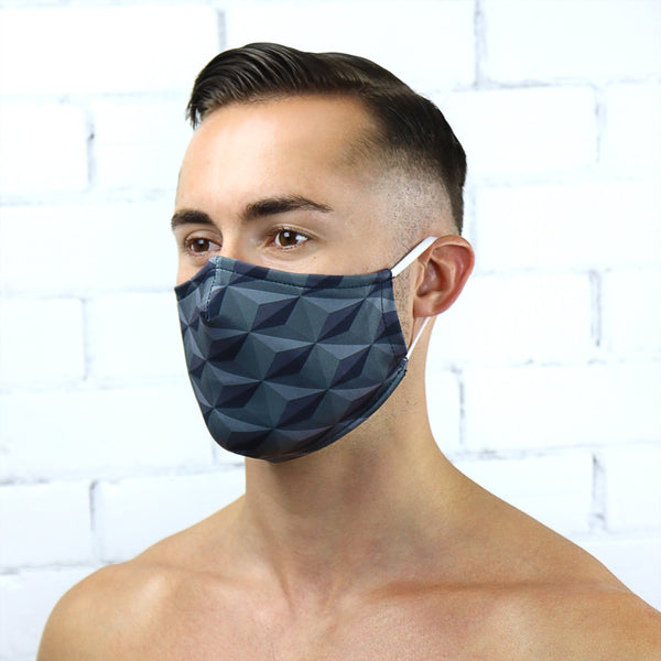 Dark Hexagons Reusable PM2.5 Face Mask - Rude Rainbow Gay Party Summer
