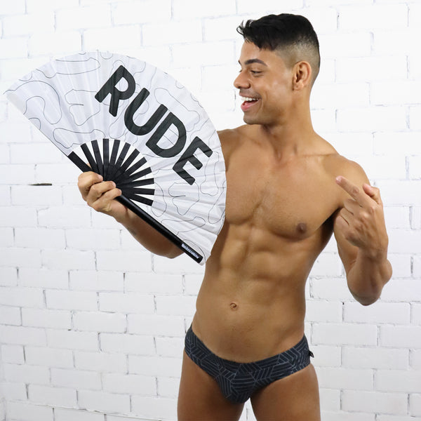 Raging Rude - White UV Party Fan