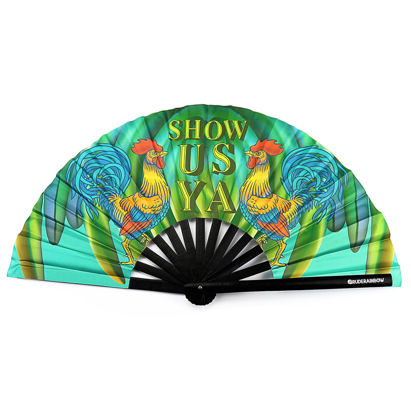 Show Us Ya Rooster UV Party Fan - Rude Rainbow Gay Party Summer