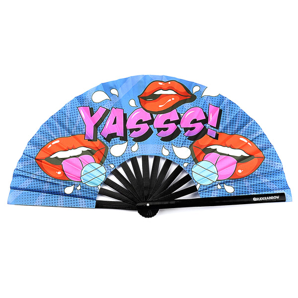 Yasss Lips and Lollipops UV Party Fan - Rude Rainbow Gay Party Summer